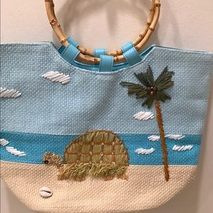 Tropical  Summer Bag with Turtle/Palm Tree. NNT
